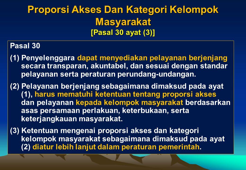 Proporsi Akses Dan Kategori Kelompok Masyarakat [Pasal 30 ayat (3)]